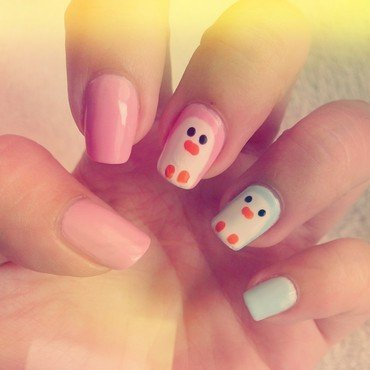 Pastel Penguins nail art by Judy Ann Chio