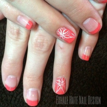 Pink Floral nail art by Courtney Haines