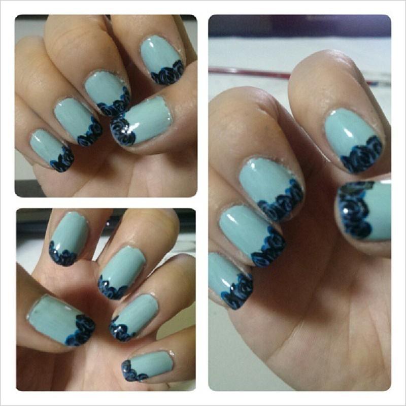 Blue Roses at Your Tips nail art by JingTing Jaslynn