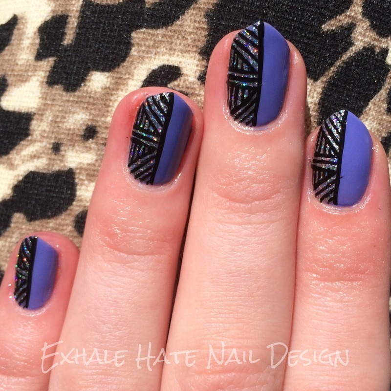 Glitter Basket Weave nail art by Courtney Haines