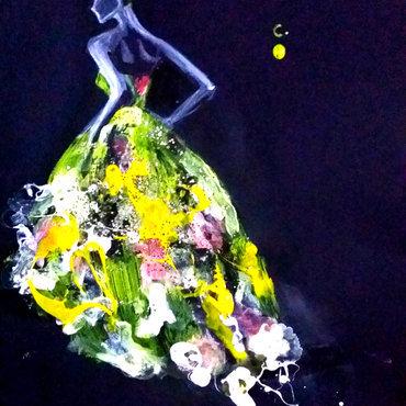 Emmy Rossum, Met Gala 2014. nail art by Chan  Clayrene