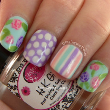 Roses, Dots and Stripes nail art by Denise