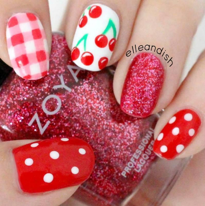 Cherry Picnic nails nail art by elleandish