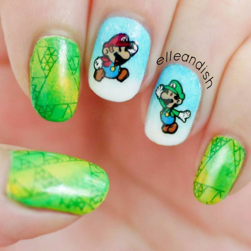 Super Mario Bros. Nails nail art by elleandish