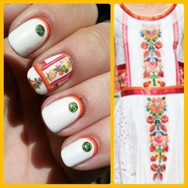 Flower dress recreation nail art by Jennifer Collins