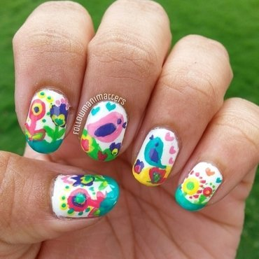Mother's Day nails - Birdies  nail art by Manisha Manimatters