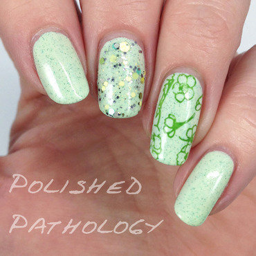 White Clover nail art by J Pathology