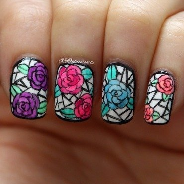 Stained Glass Roses nail art by Yen