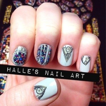Notre Dame  nail art by Halle Butler