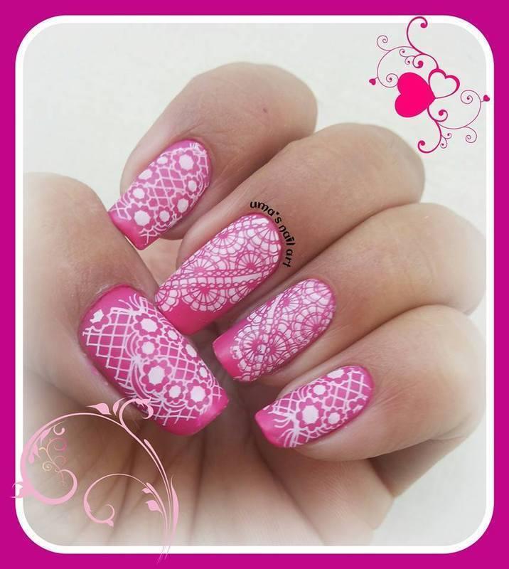 Lace ... nail art by Uma mathur
