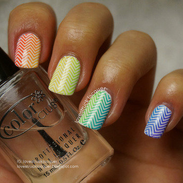 rainbow gradient stamping nail art by Stephanie L