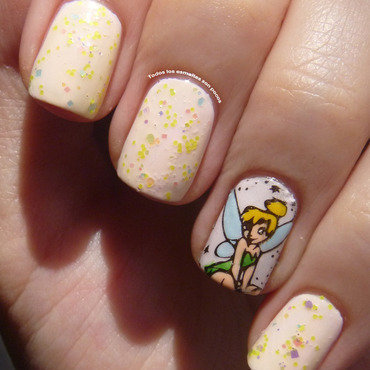 Tinker Bell manicure nail art by Maria