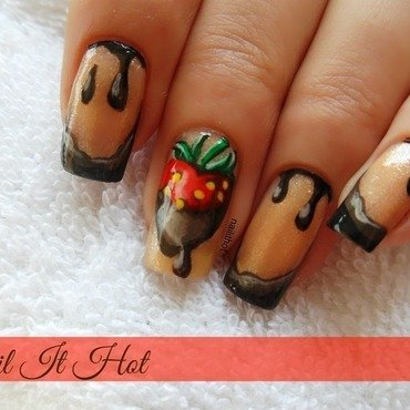 Strawberry in chocolate nail art by Nail_it_hot