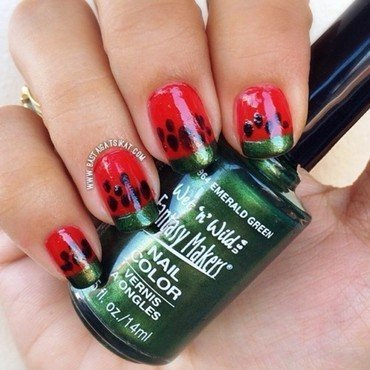 Watermelon nail art by Maria Franco