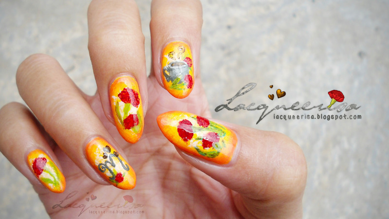 Carnations For Mum nail art by Lacqueerisa