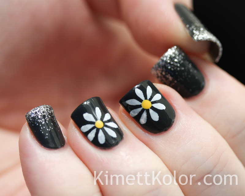 April Theme of the Month - Daisies & Diamond Tips nail art by Kimett Kolor