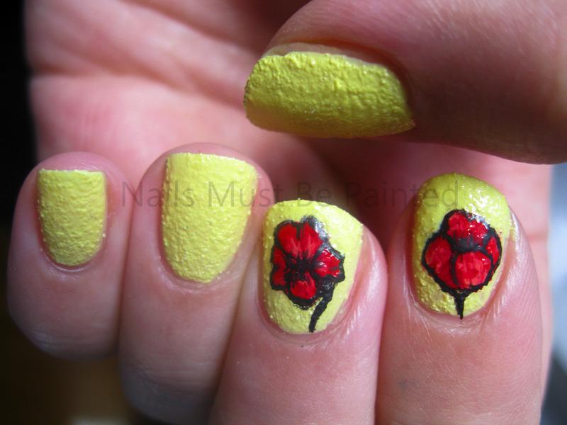 Pretty Poppies nail art by Emily