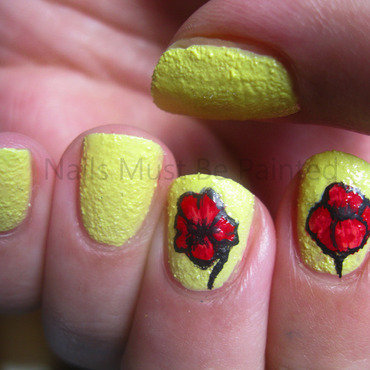 Pretty Poppies nail art by Emily