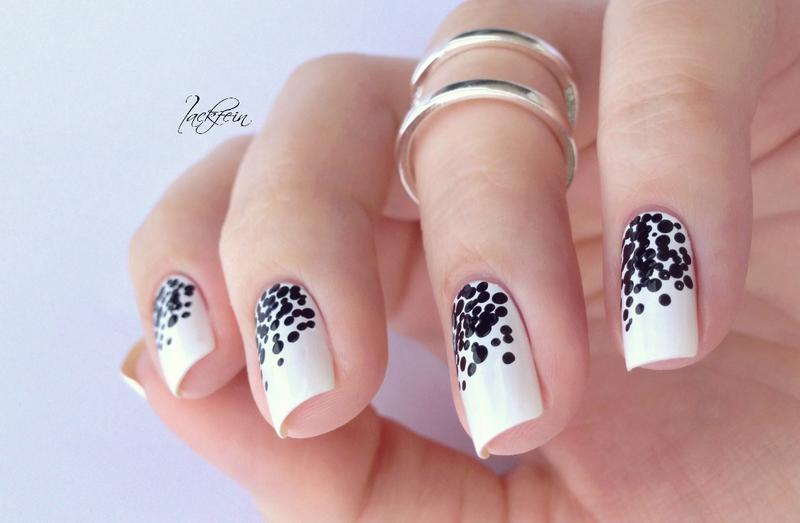 Schwarz Weiß nail art by lackfein