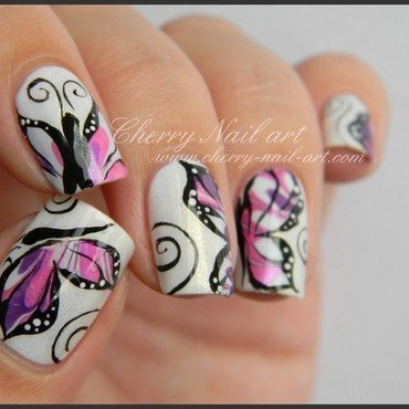 Nail art papillon nail art by Cherry Nail art