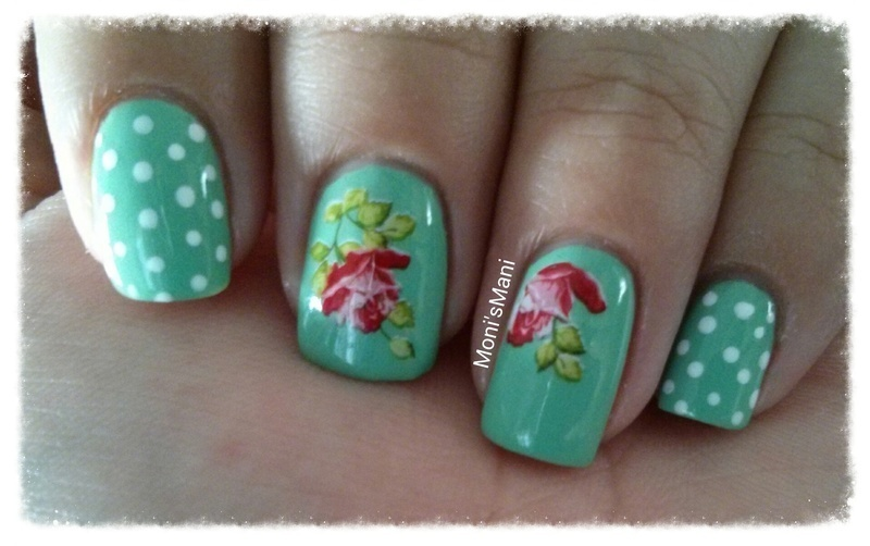 green Mani with rose water decal nail art by Moni'sMani