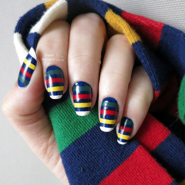 Hudson's Bay navy blue stripes nail art by simplynailogical