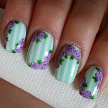 Stripes and Roses nail art by Danlee