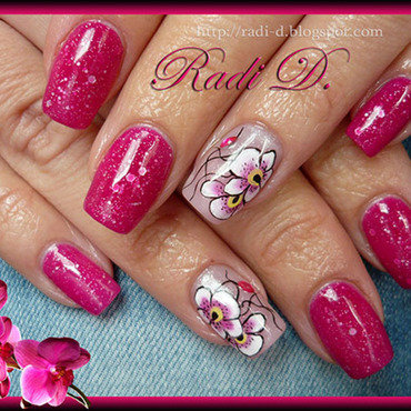 Color Changing gel polish & Orchids (cold) nail art by Radi Dimitrova