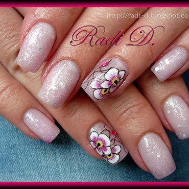 Color Changing gel polish & Orchids (hot) nail art by Radi Dimitrova