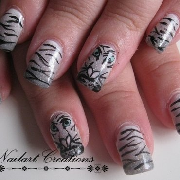 Snow Tigers nail art by Nailart Creations