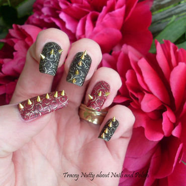 Rock Chick Studs nail art by Tracey - Bite no more
