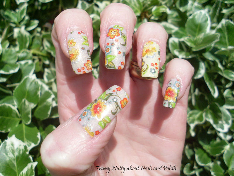 Floral Foil nail art by Tracey - Bite no more