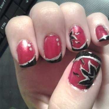 Red flowers nail art by Brittany Wanner