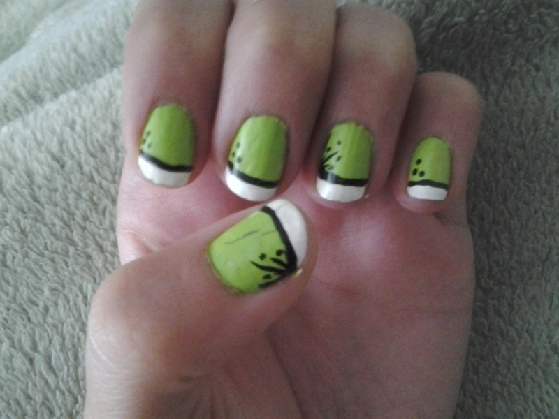 Green Love nail art by Brittany Wanner