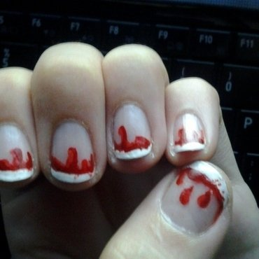 Dripping blood nail art by Brittany Wanner
