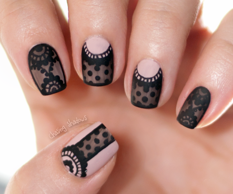 Pics Of Nail Art: Sheer Black Lace Nail Art By Chasing Shadows