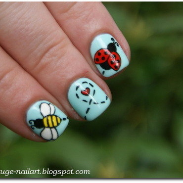 Love story of Ladybug and Mr. Bee nail art by RedRouge