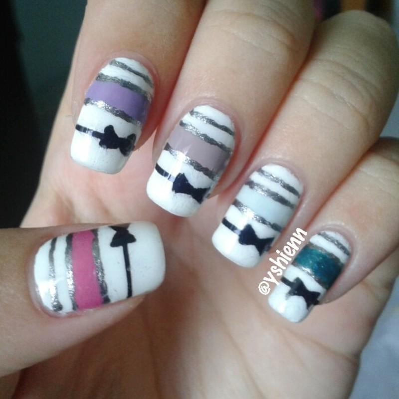 Colour block w ribbon nail art by Shien