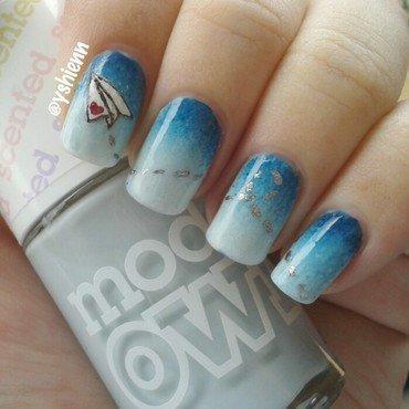 Loveletter Paper Plane nail art by Shien