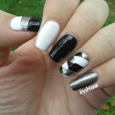 Monochrome braid nail art by Shien