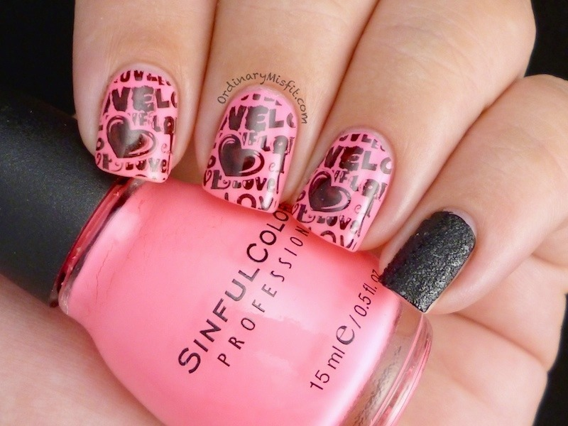 Pink & Black graffiti nail art by Michelle