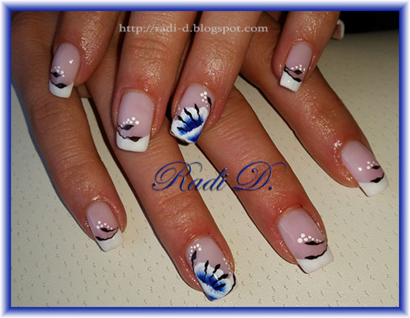 French with blue flowers nail art by Radi Dimitrova