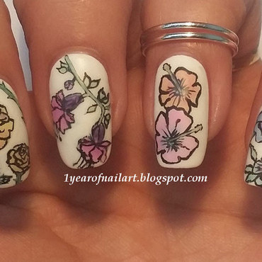 Flowers for Mother's Day nail art by Margriet Sijperda