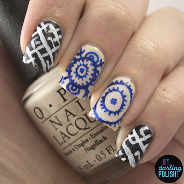 Oriental Patterns nail art by Marisa  Cavanaugh