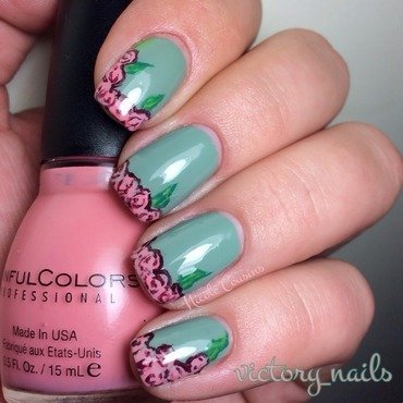 Dusky rose tips nail art by Nicole