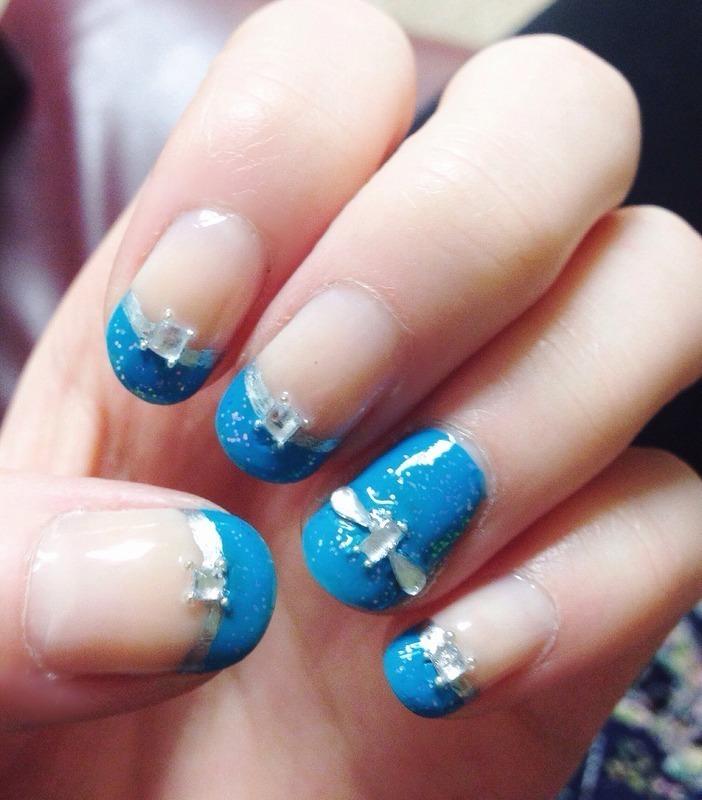 Prom Blue French Tips + Jewels nail art by Anya Qiu - Nailpolis ...