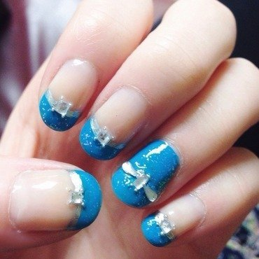 Prom Blue French Tips + Jewels nail art by Anya Qiu