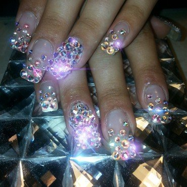swarovski love nail art by boo_ babi