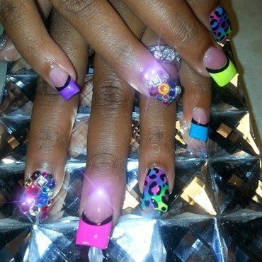 summer time fine nail art by boo_ babi