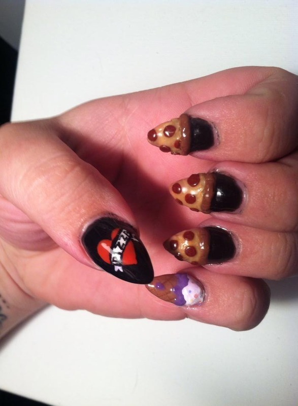 Pizza and Ice Cream Love nail art by Beth Marie